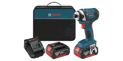 Bosch IDS181-01 Compact Tough Impact Driver with 2 Fat Pack Batteries